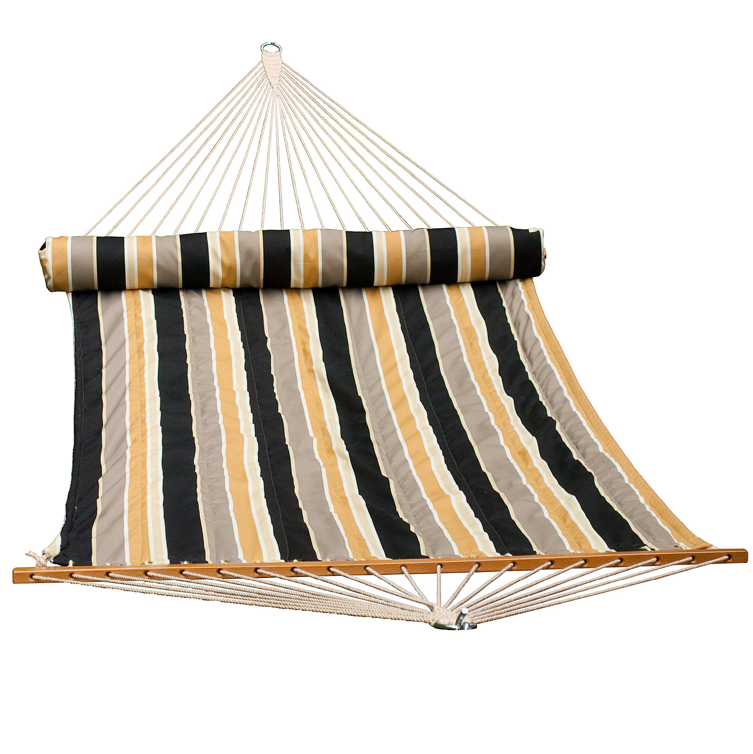 13 ft. 2-Point Quilted Fabrichammock With Matching Pillow, Black And Tan Stripe
