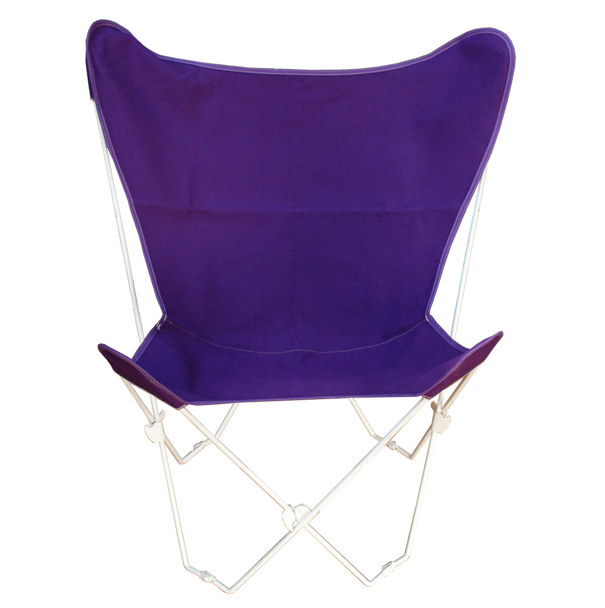 Butterfly Chair and Cover Combination With White Frame, Purple