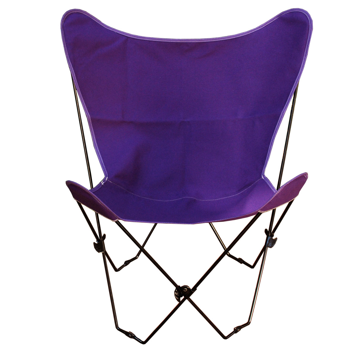 Butterfly Chair and Cover Combination With Black Frame, Purple