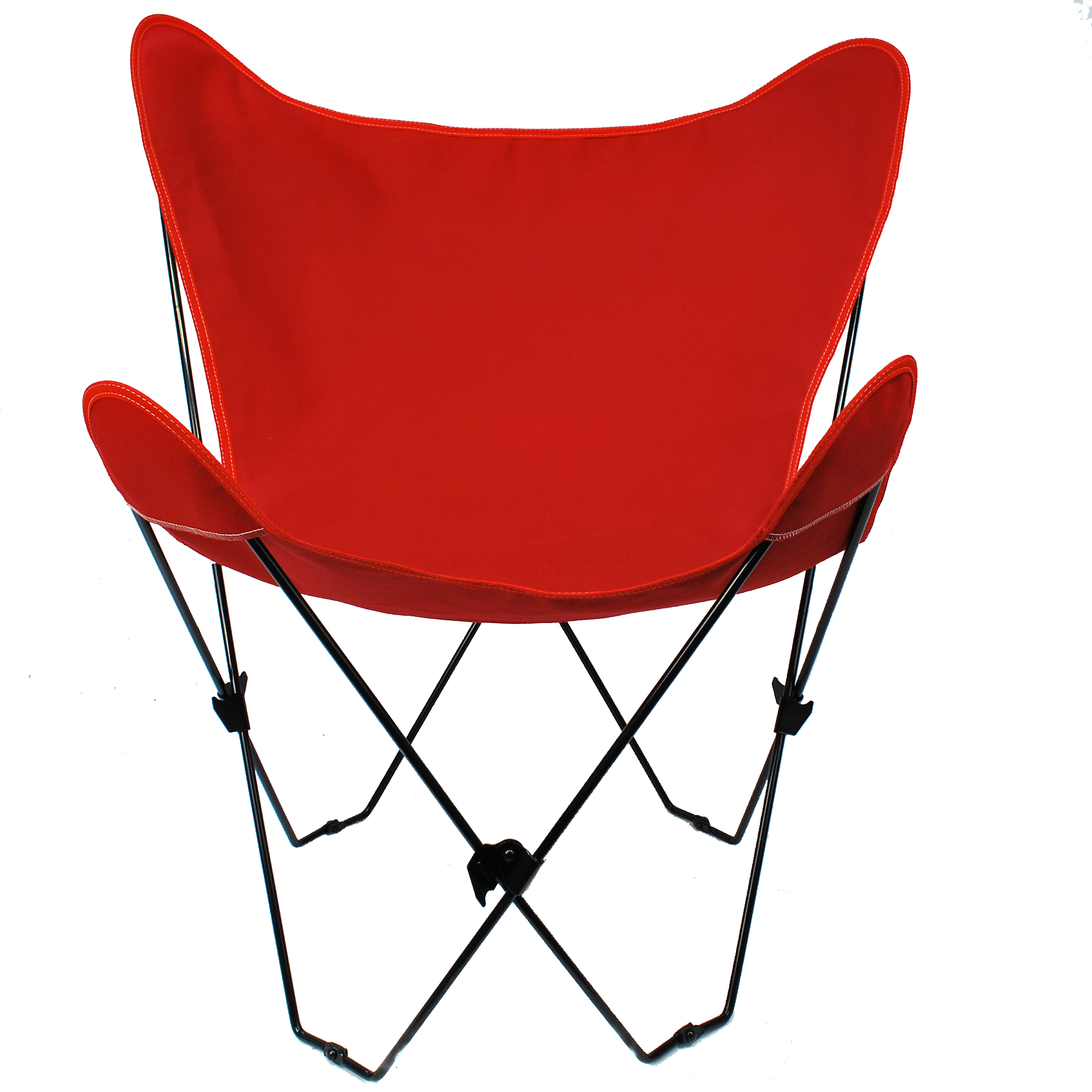 Butterfly Chair and Cover Combination With Black Frame, Red