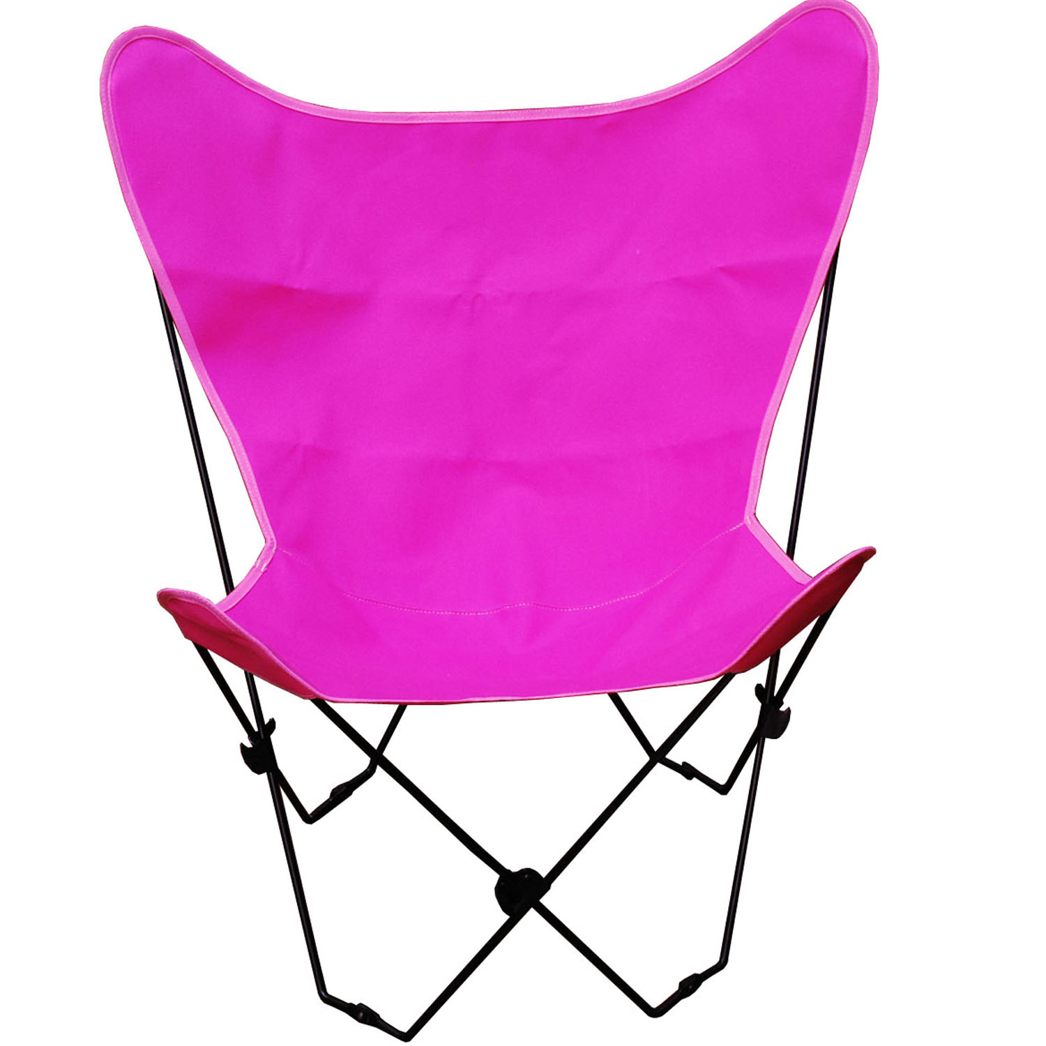 Butterfly Chair and Cover Combination With Black Frame, Pink