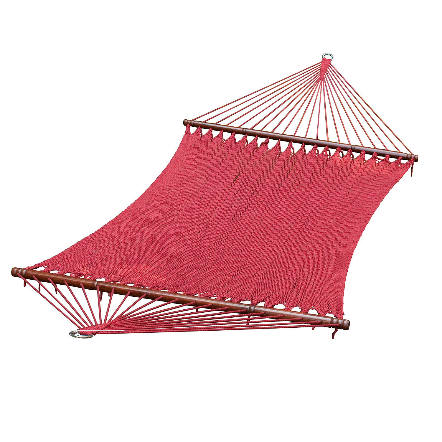 13 ft. 2-Point Tight Weave Soft Polyester Caribbean Rope Hammock, Burgundy