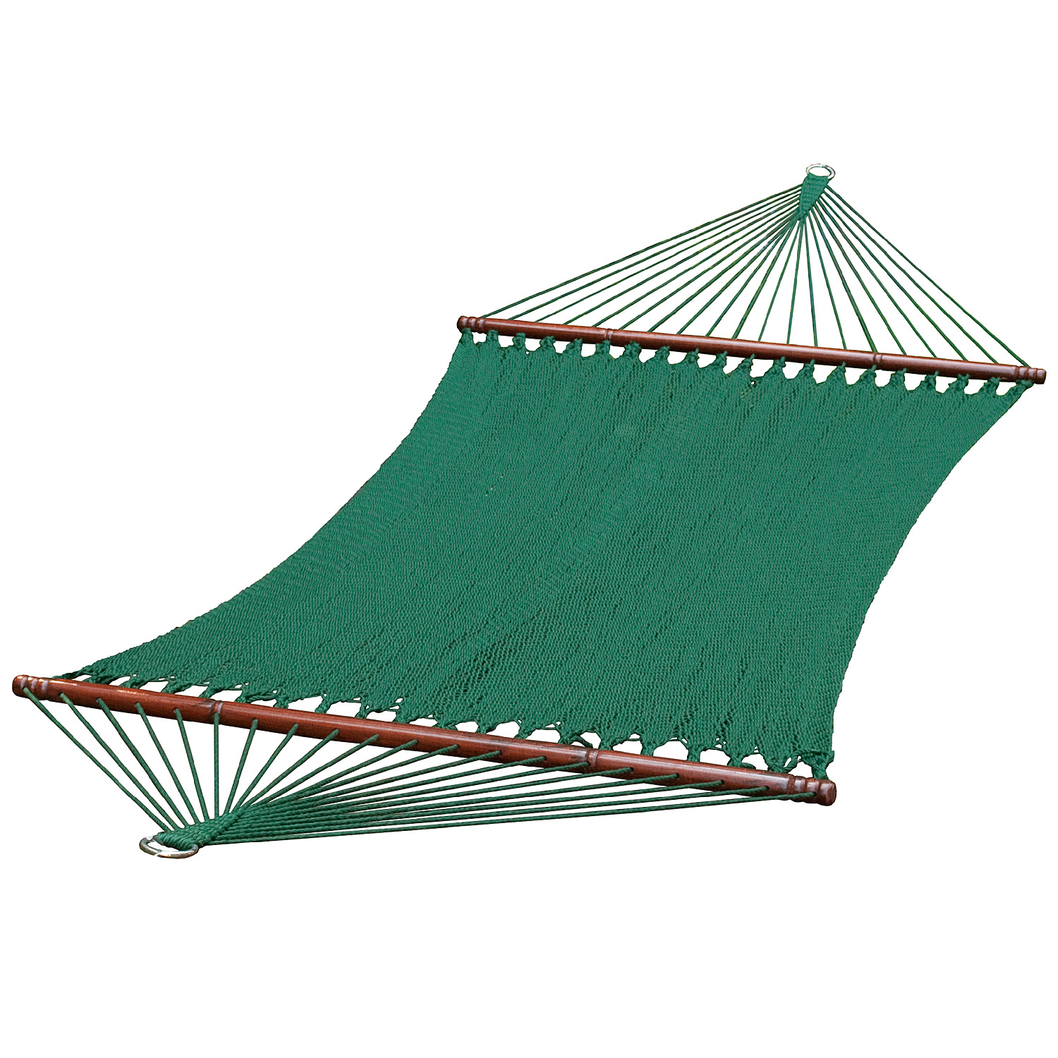 13 ft. 2-Point Tight Weave Soft Polyester Caribbean Rope Hammock, Green
