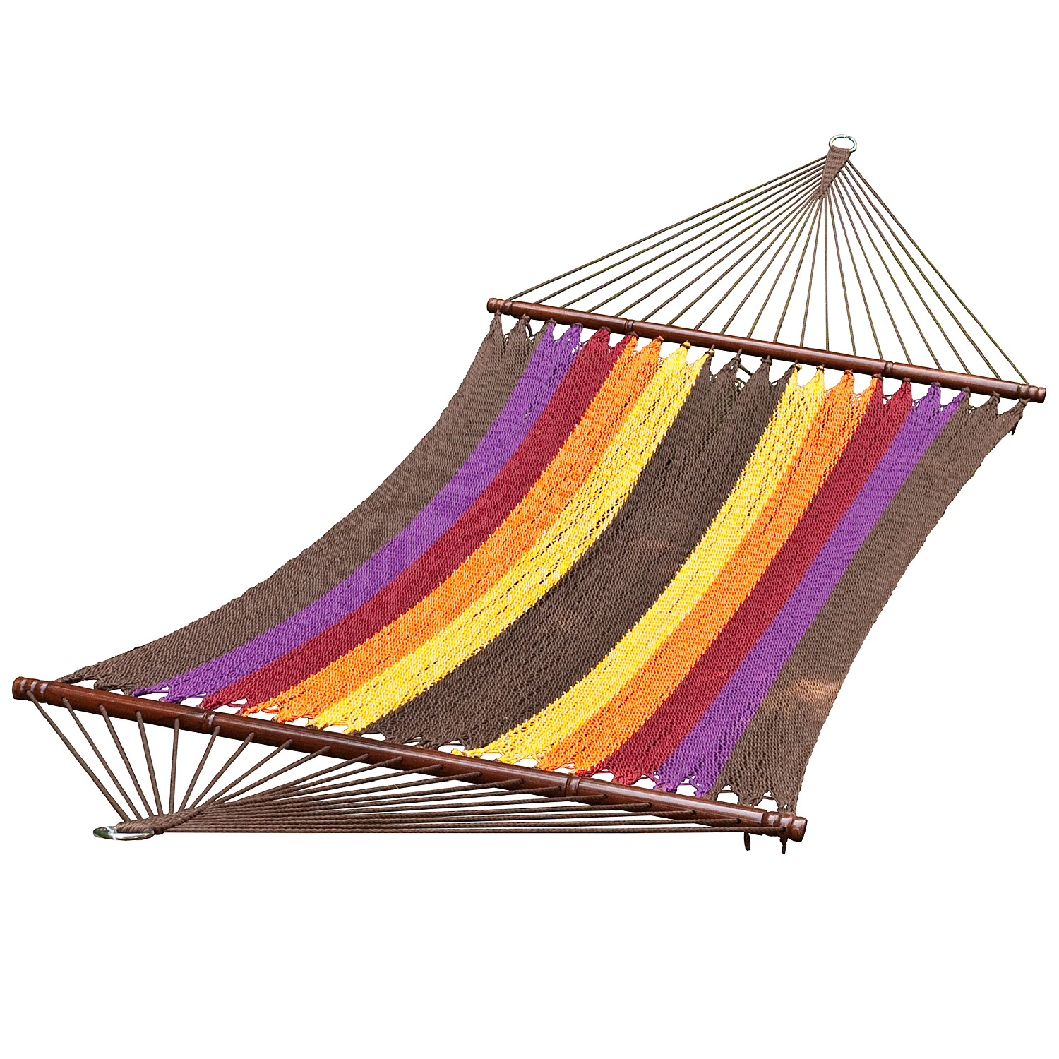 13 ft. 2-Point Tight Weave Soft Polyester Caribbean Rope Hammock, Multi Color