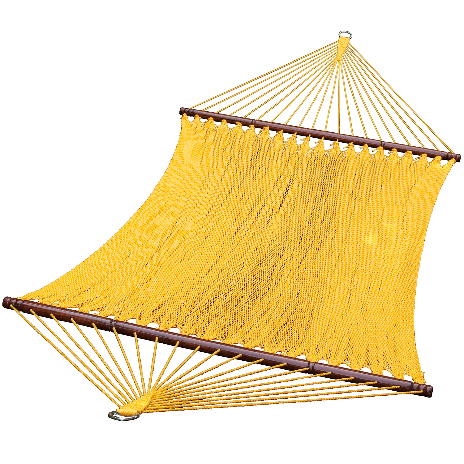 13 ft. 2-Point Tight Weave Soft Polyester Caribbean Rope Hammock, Yellow