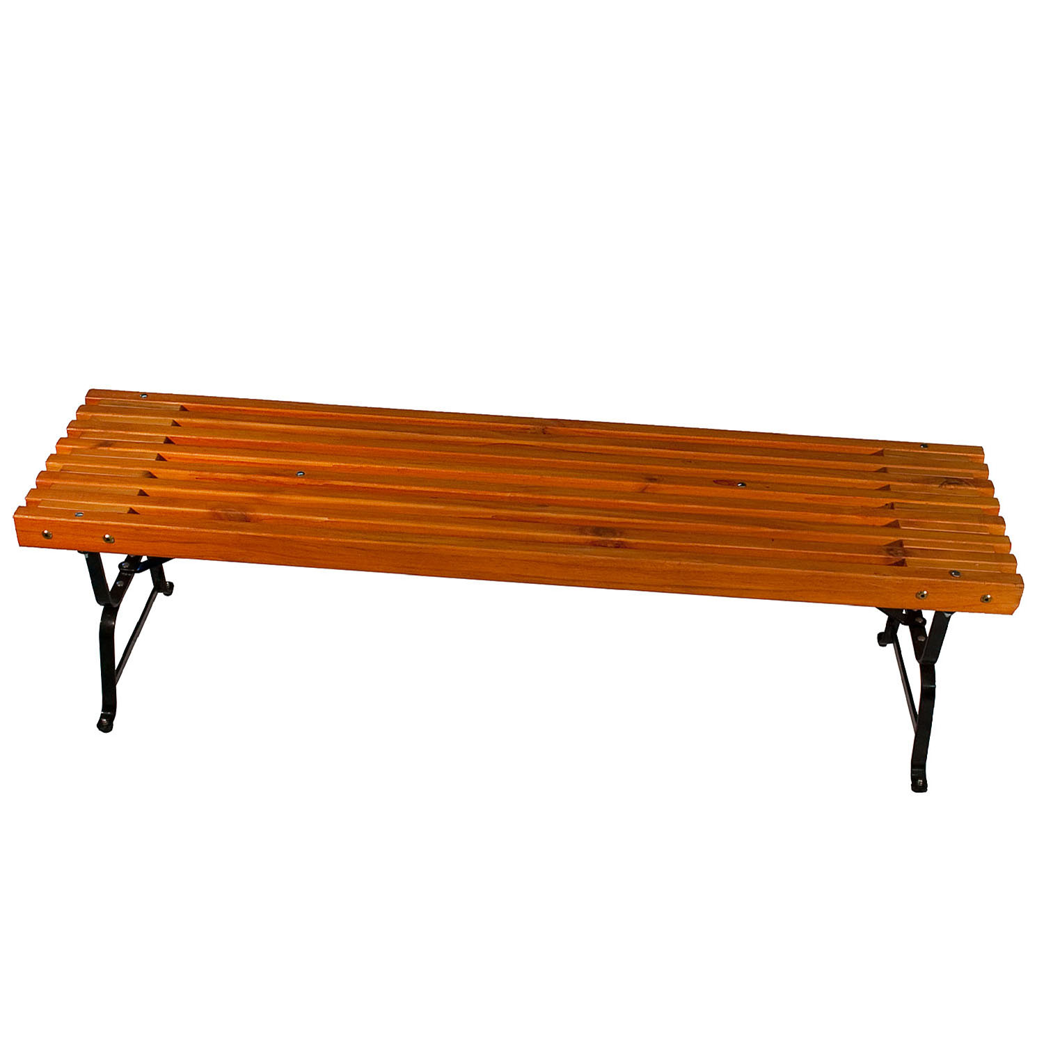 Mall Style Outdoor Bench with Black Powder Coated Steel Frame, Southern Yellow Pine