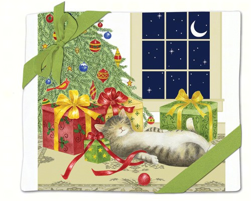 Holiday Cat Flour Sack Towel