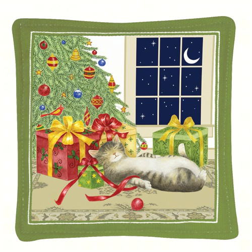 Holiday Cat Single Mug Mat