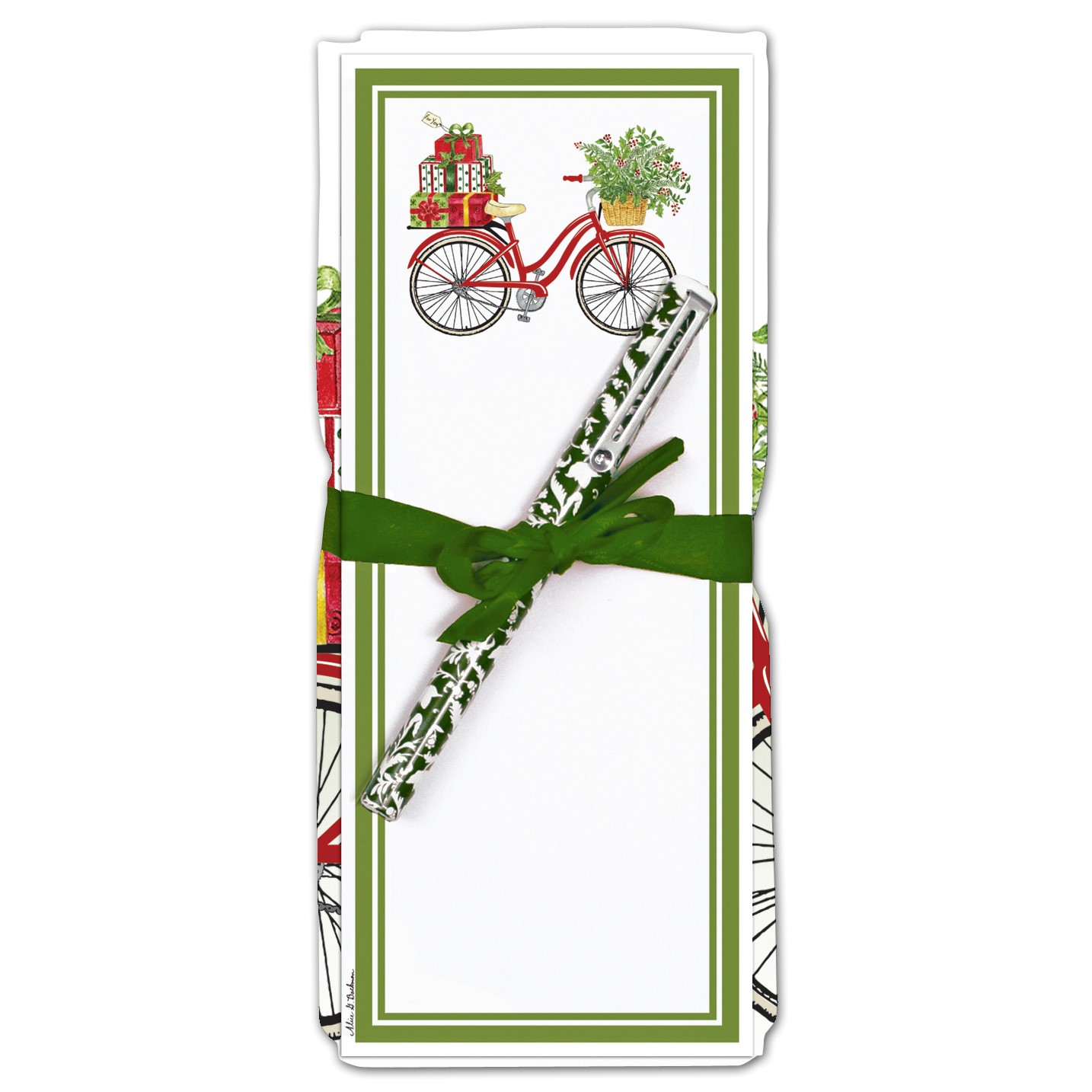 Holiday Bicycle Flour Sack Towel and Magnetic Notepad Set
