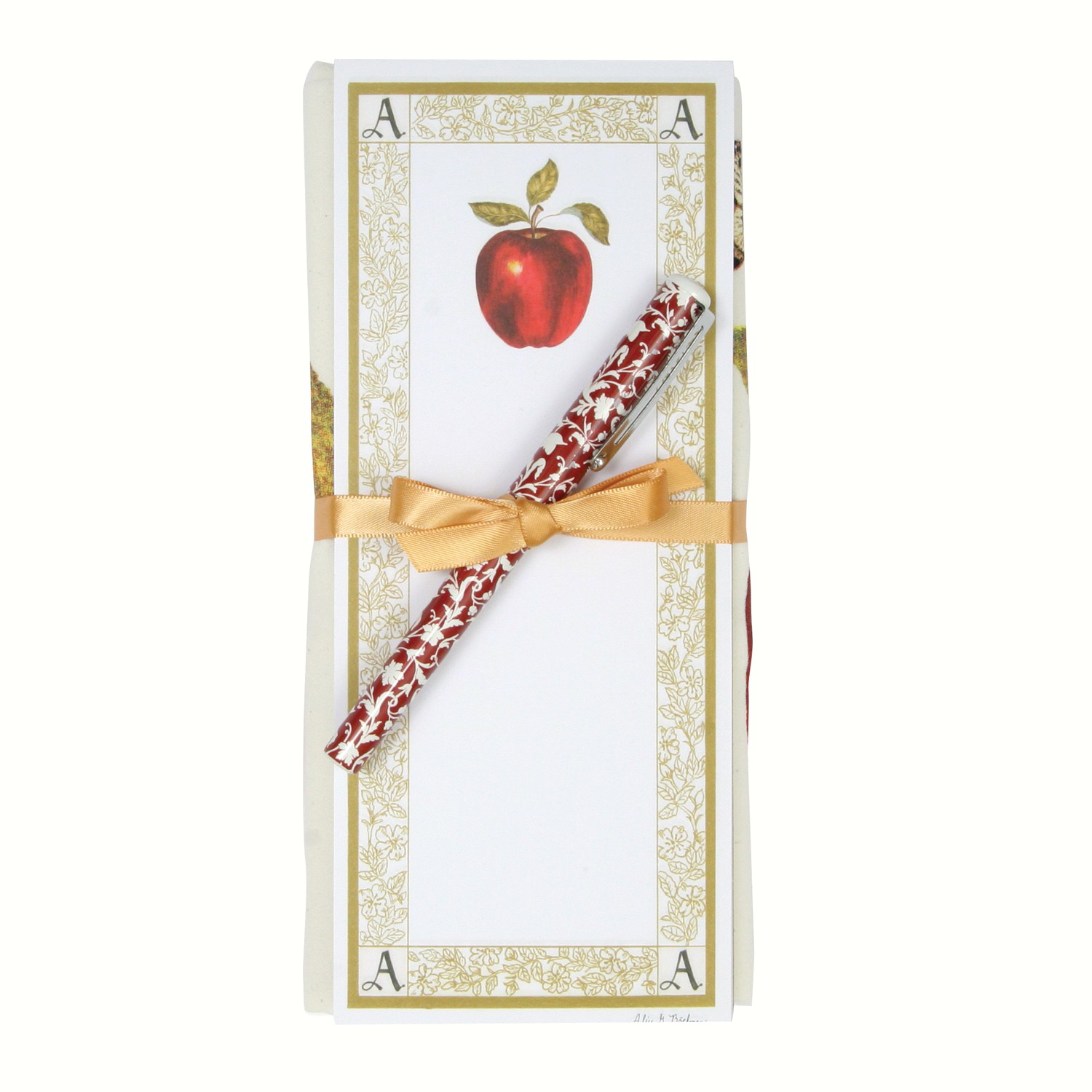 Apple Flour Sack Towel and Magnetic Note Pad Set
