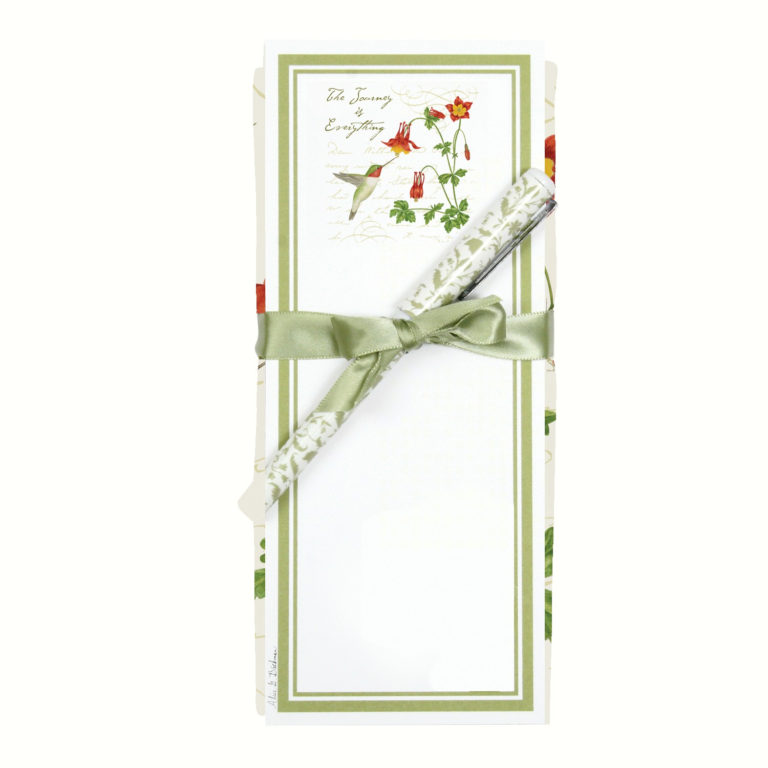 Hummingbird Flour Sack Towel and Magnetic Note Pad Set