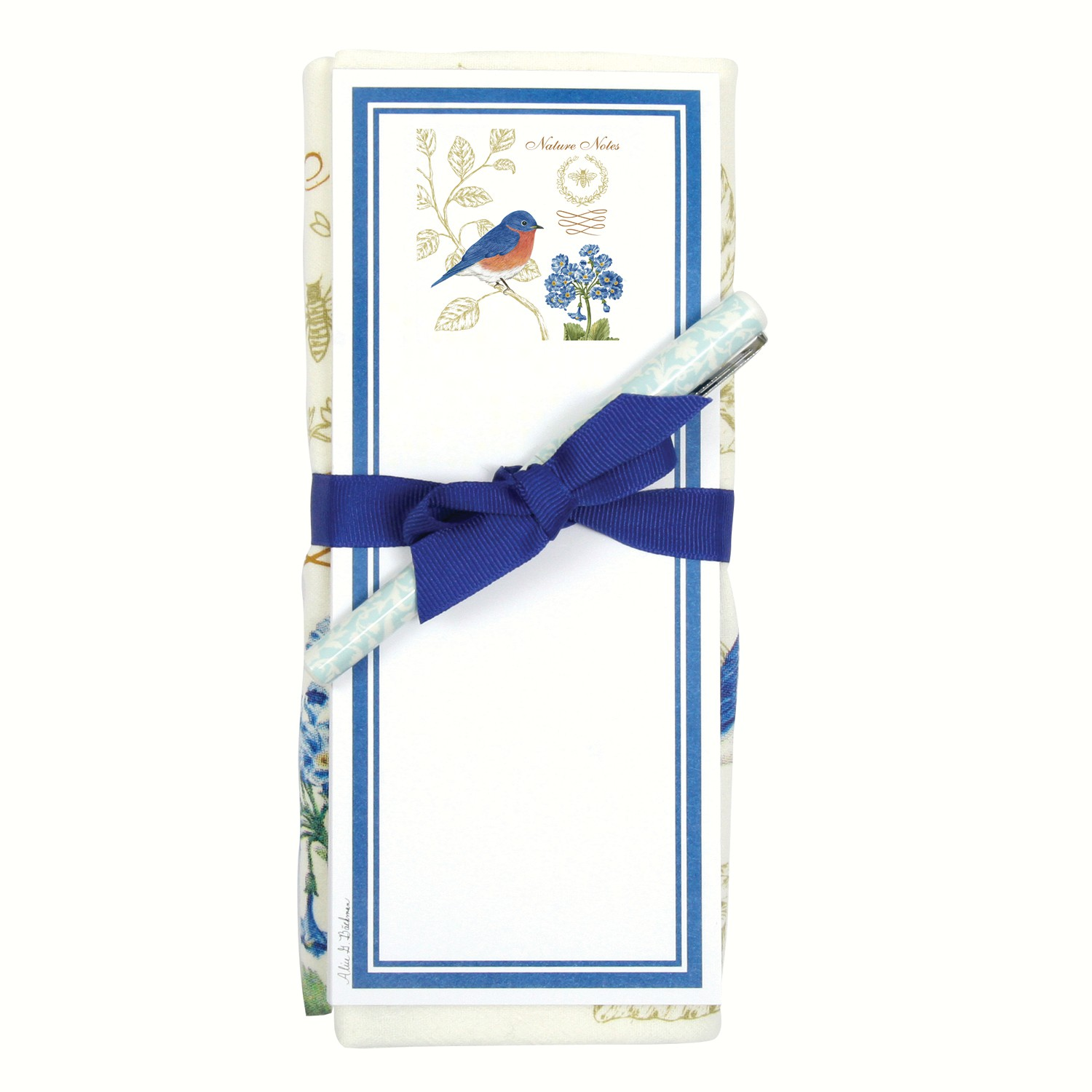 Bluebird NN Flour Sack Towel and Magnetic Note Pad Set