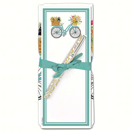 Spring Bike Flour Sack Towel & Magnetic Note Pad Set