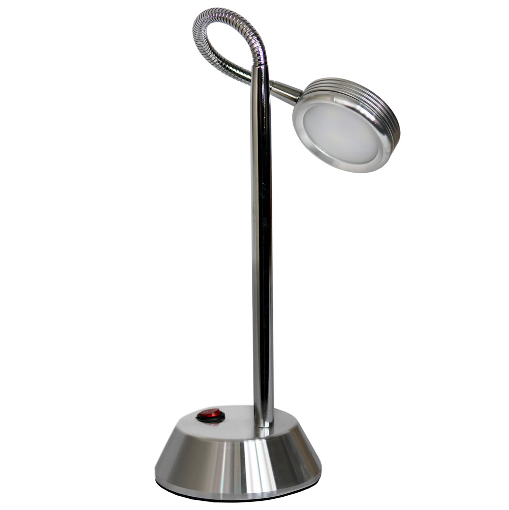 Simple Designs Chrome High Power LED Desk Lamp with Flexible Gooseneck