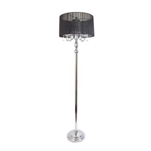 Elegant Designs Trendy Sheer Black Shade Floor Lamp with Hanging Crystals