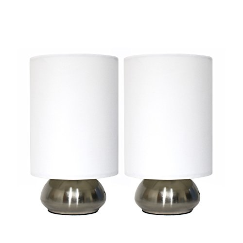Simple Designs 2 Pack Mini Touch Lamp with Shiny Silver Metal base & Ivory Shade