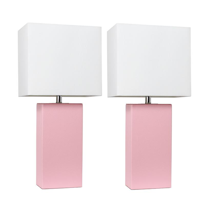 Elegant Designs 2 Pack Modern Leather Table Lamps with White Fabric Shades, Pink