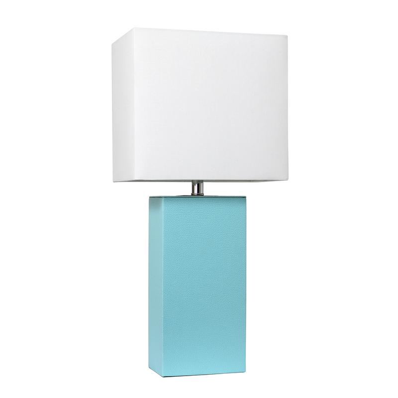 Elegant Designs Modern Leather Table Lamp with White Fabric Shade, Aqua