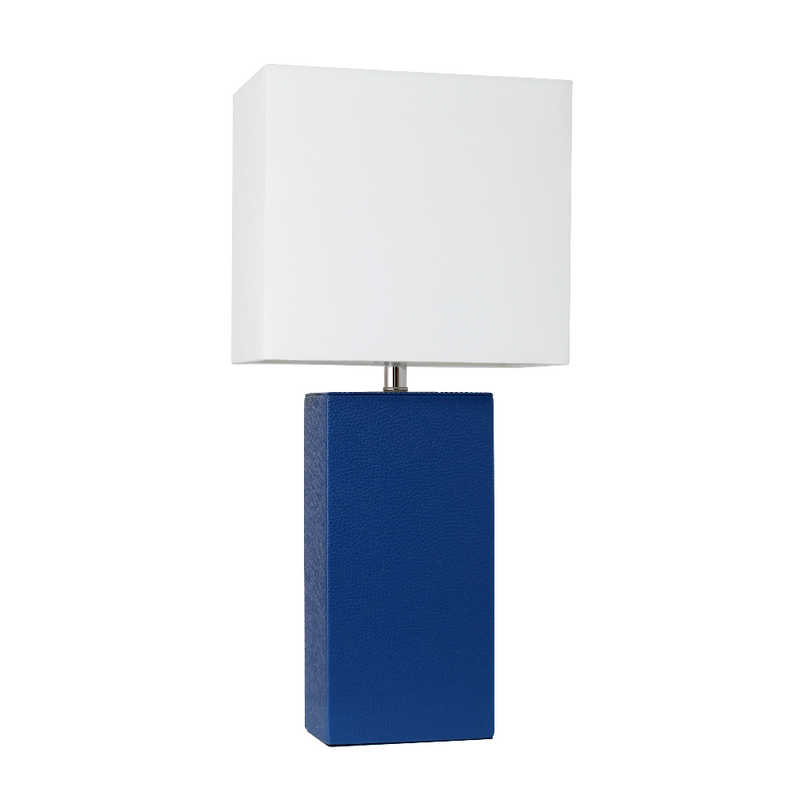 Elegant Designs Modern Leather Table Lamp with White Fabric Shade,  Blue
