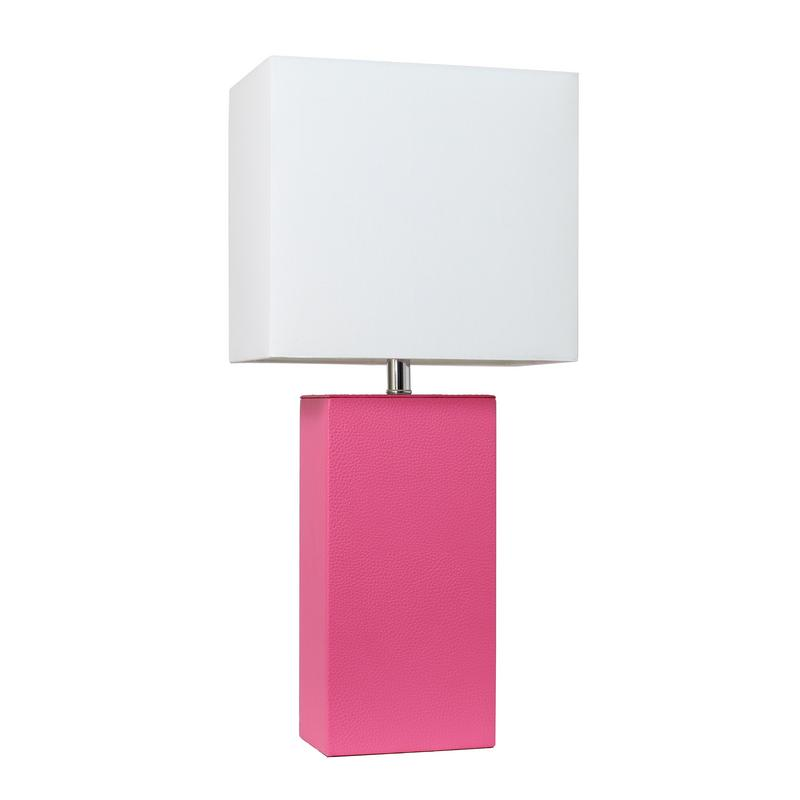 Elegant Designs Modern Leather Table Lamp with White Fabric Shade, Hot Pink