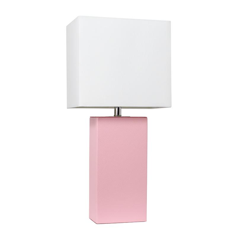 Elegant Designs Modern Leather Table Lamp with White Fabric Shade, Pink