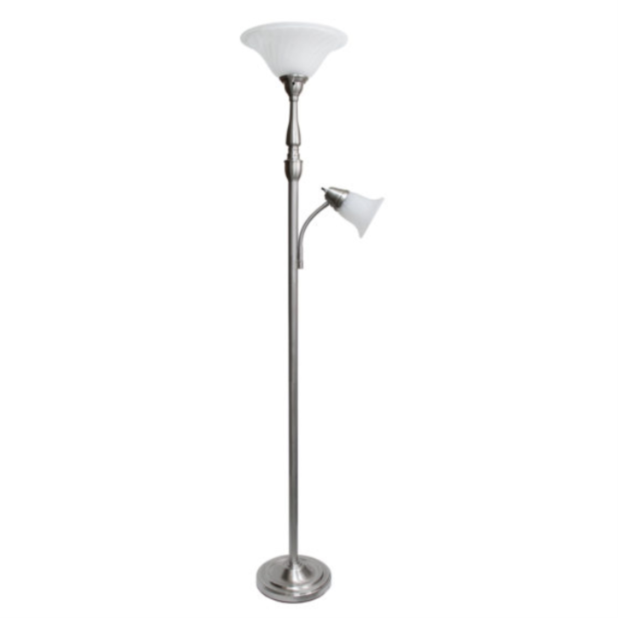 Elegant Designs 2 Light Mother Daughter Floor Lamp with White Marble Glass, Brushed Nickel