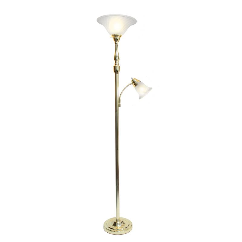 Elegant Designs 2 Light Mother Daughter Floor Lamp with White Marble Glass, Gold