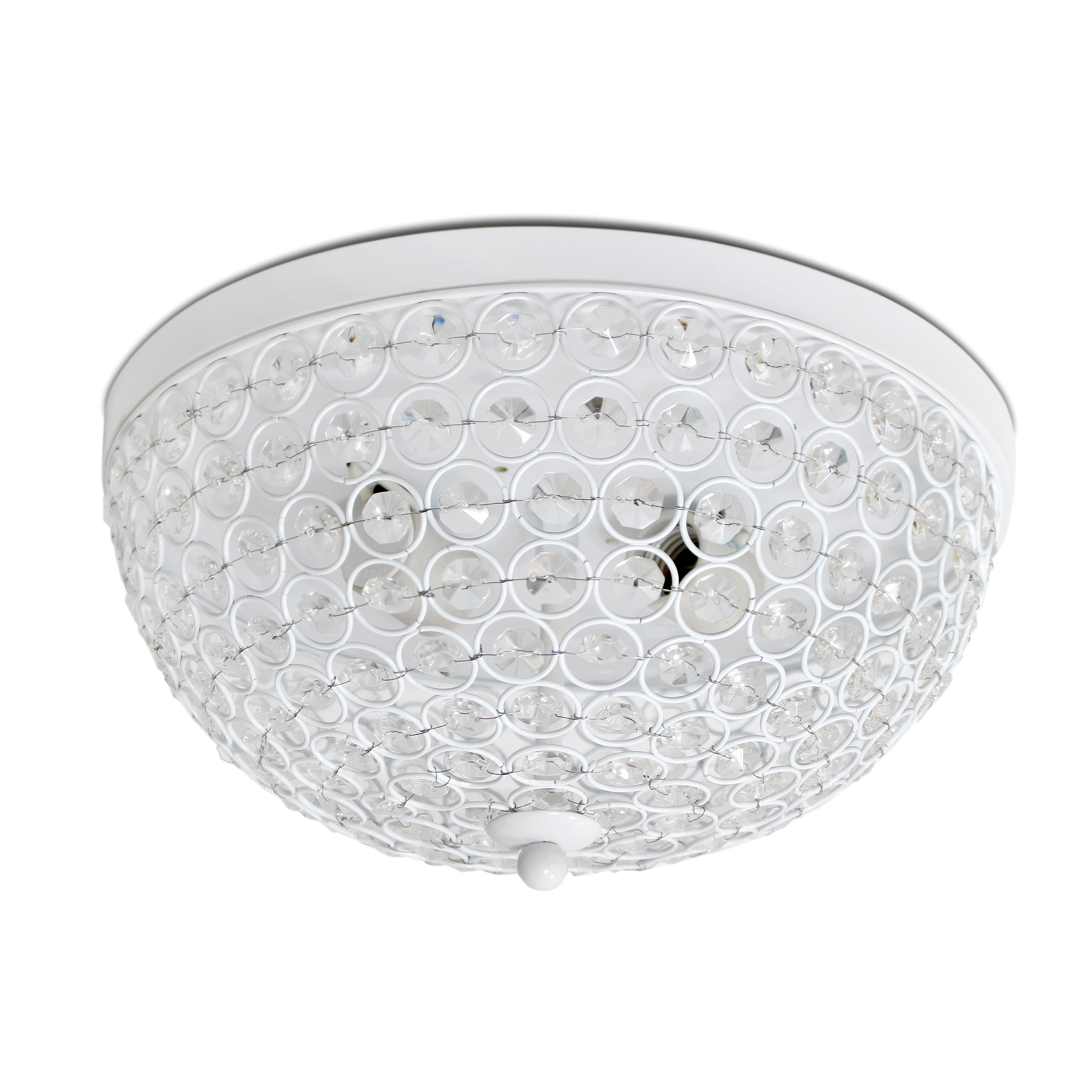 Elegant Designs 2 Light Elipse Crystal Flush Mount Ceiling Light, White