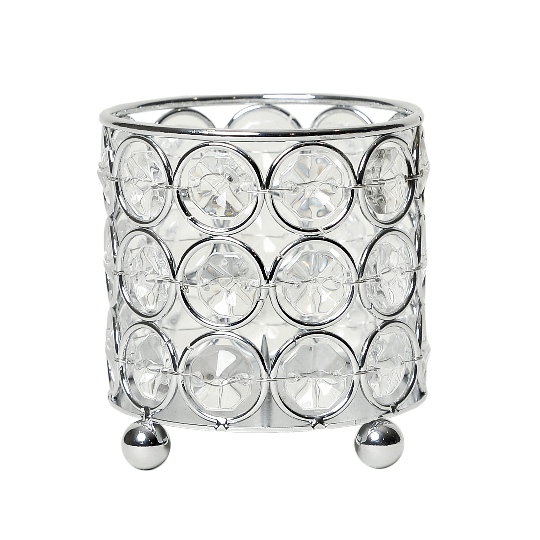 Elegant Designs Elipse Crystal Decorative Flower Vase, Candle Holder, Wedding Centerpiece, 3.25 Inch, Chrome