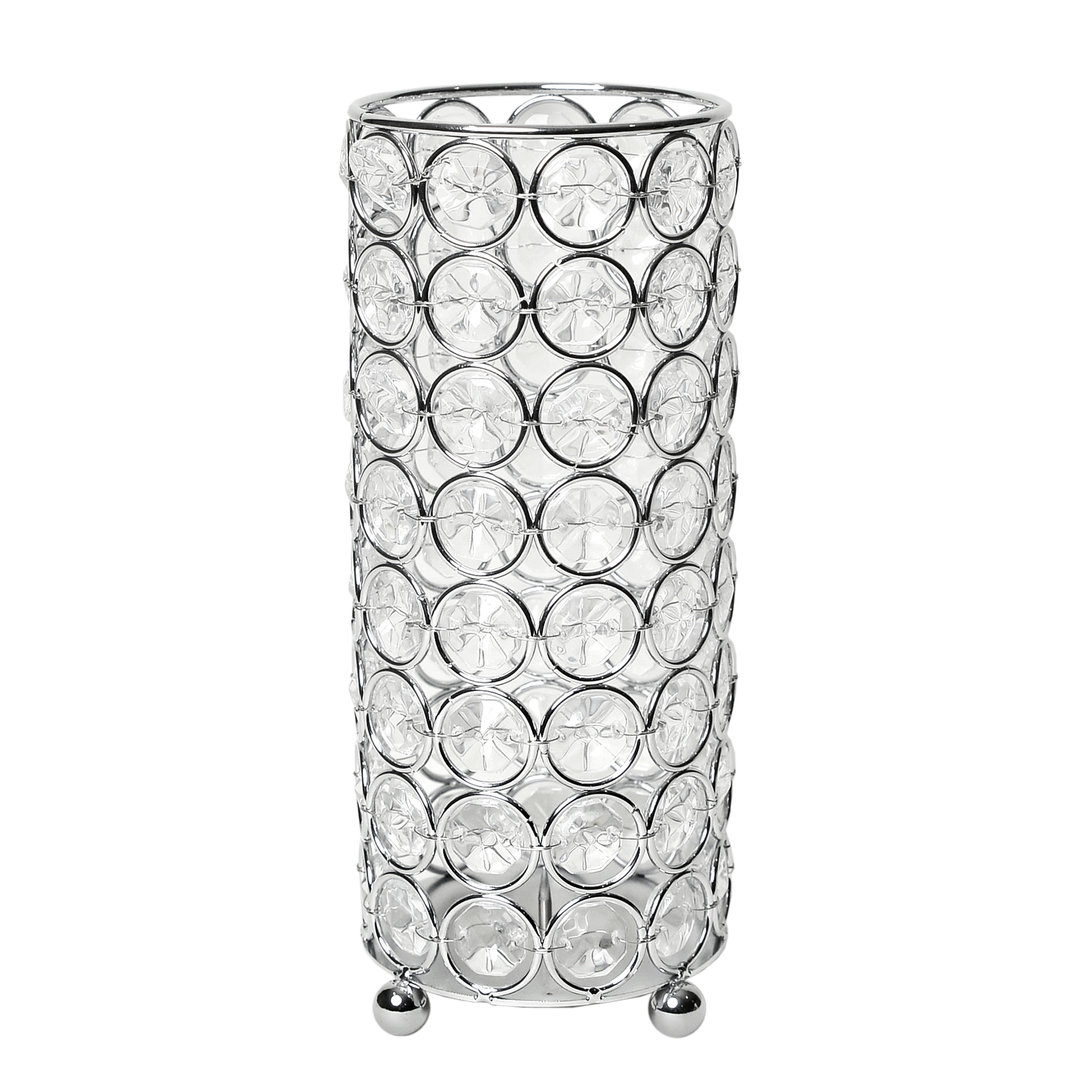 Elegant Designs Elipse Crystal Decorative Flower Vase, Candle Holder, Wedding Centerpiece, 7.75 Inch, Chrome