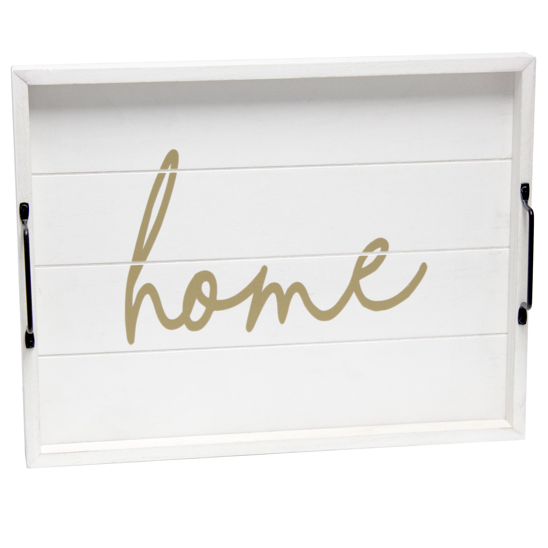 "Elegant Designs Decorative Wood Serving Tray w/ Handles, 15.50"" x 12"", White Wash ""Home"""