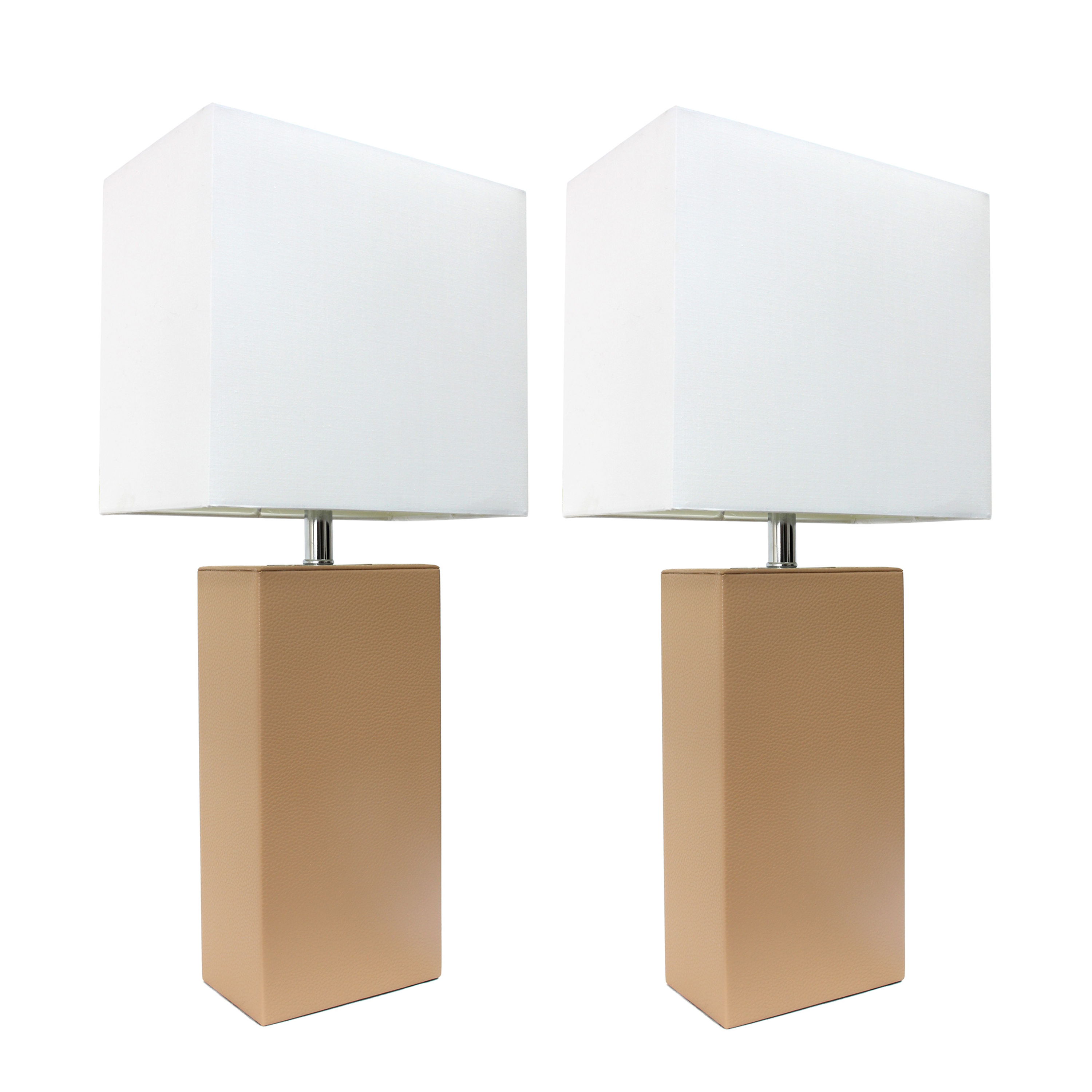 Elegant Designs 2 Pack Modern Leather Table Lamps with White Fabric Shades, Beige