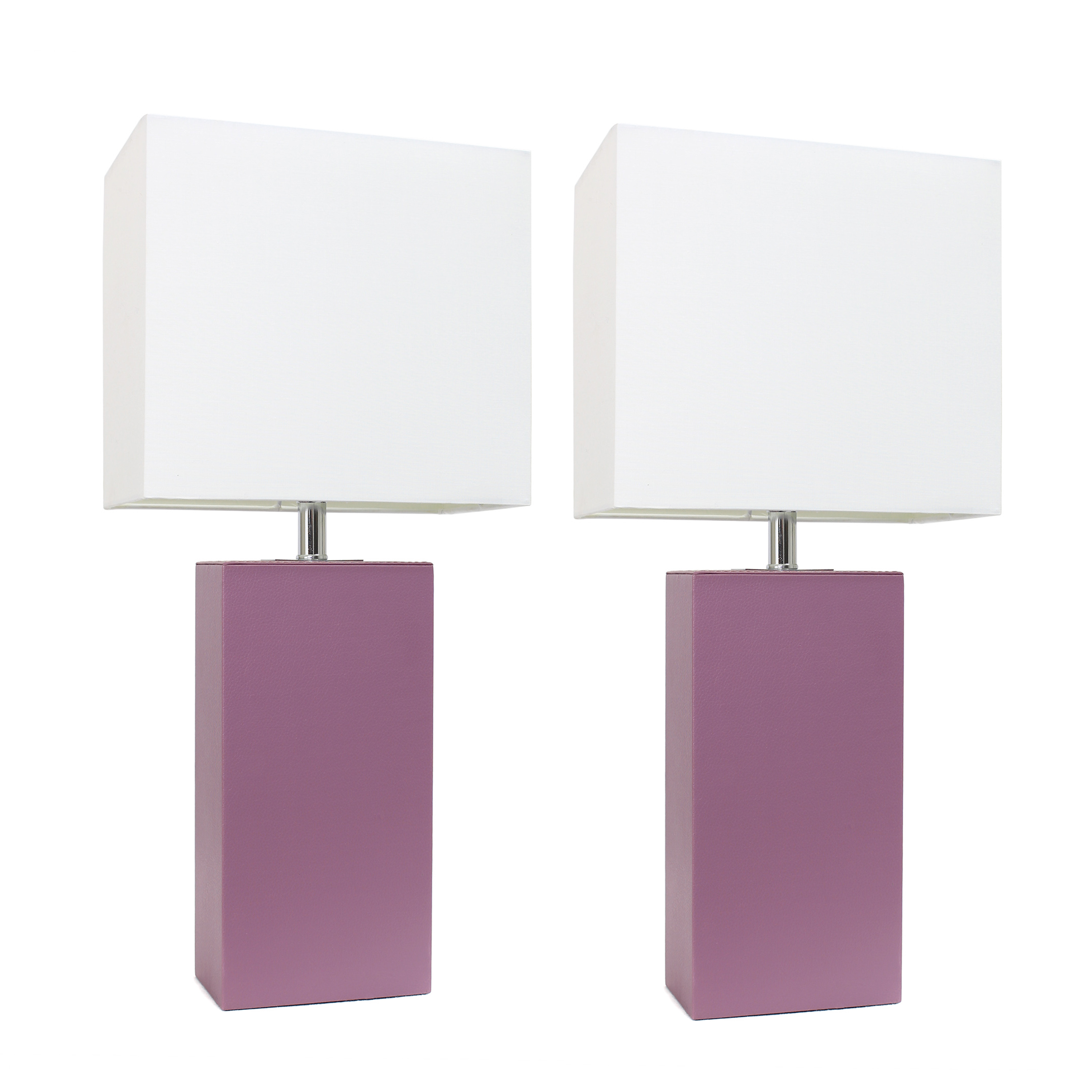 Elegant Designs 2 Pack Modern Leather Table Lamps with White Fabric Shades, Purple