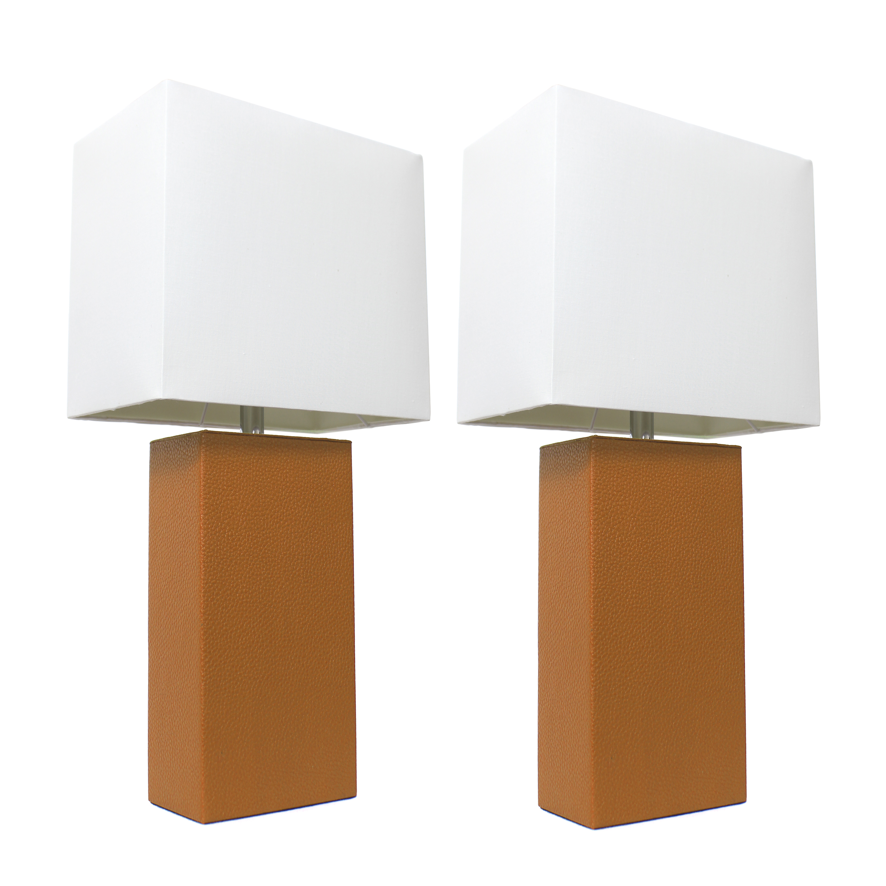 Elegant Designs 2 Pack Modern Leather Table Lamps with White Fabric Shades, Tan