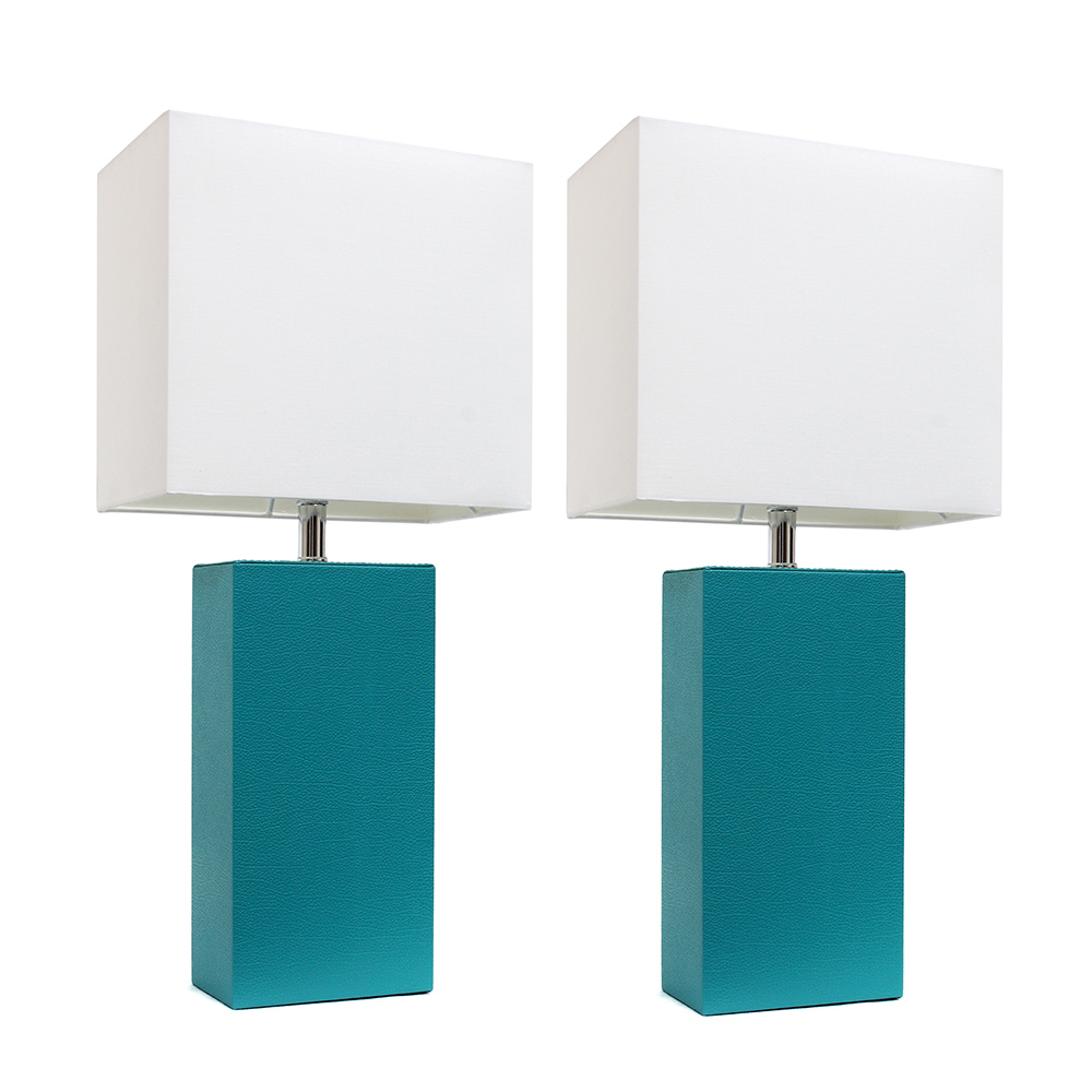 Elegant Designs 2 Pack Modern Leather Table Lamps with White Fabric Shades, Teal