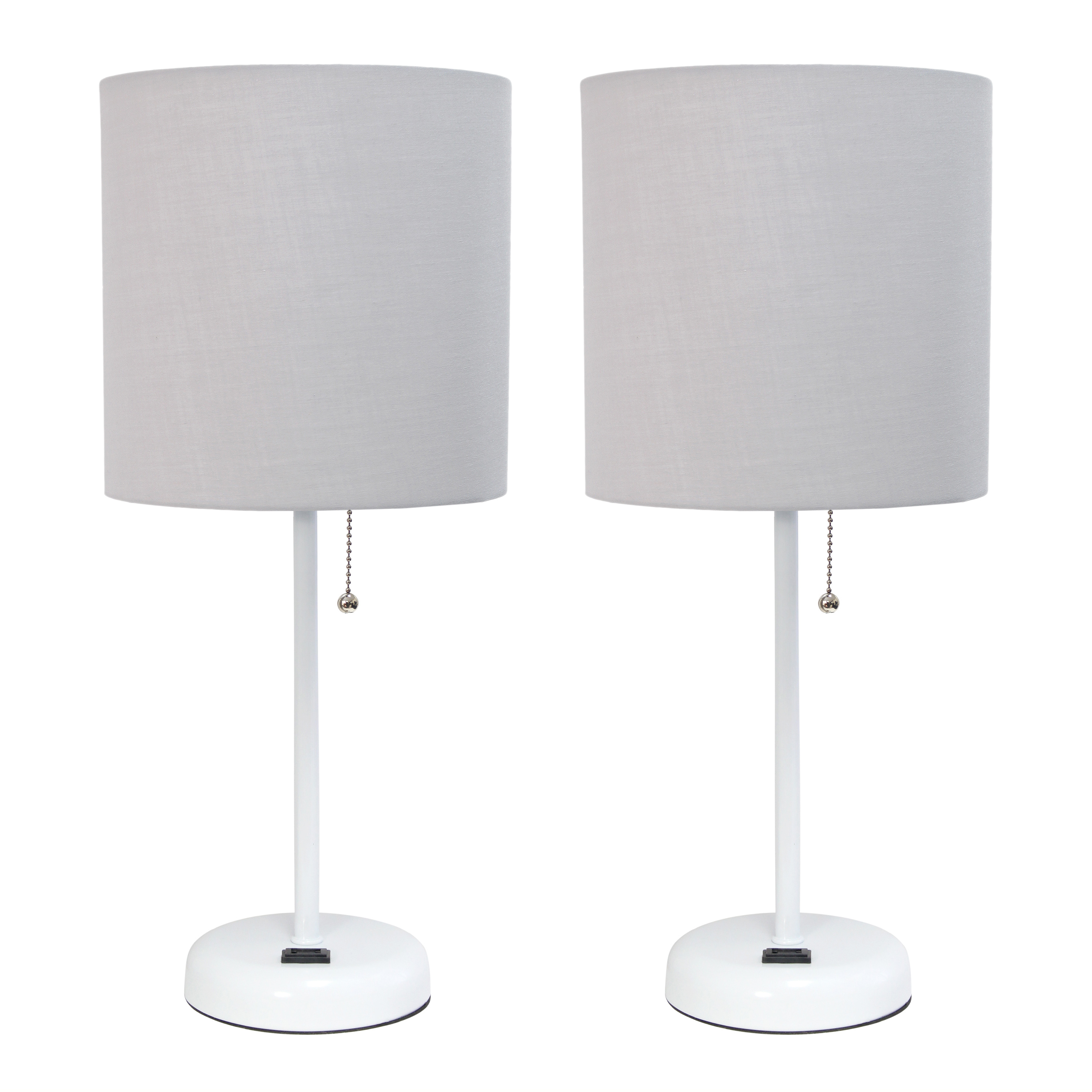 LimeLights White Stick Lamp with Charging Outlet and Fabric Shade 2 Pack Set, Gray