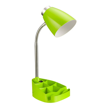 Limelights Neon Green Gooseneck Organizer Desk Lamp with iPad Stand or Book Holder
