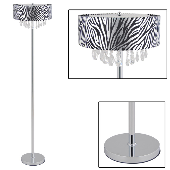 Zebra Floor Lamps : Only elegant designs trendy crystal and chrome floor lamp with zebra print drum shade