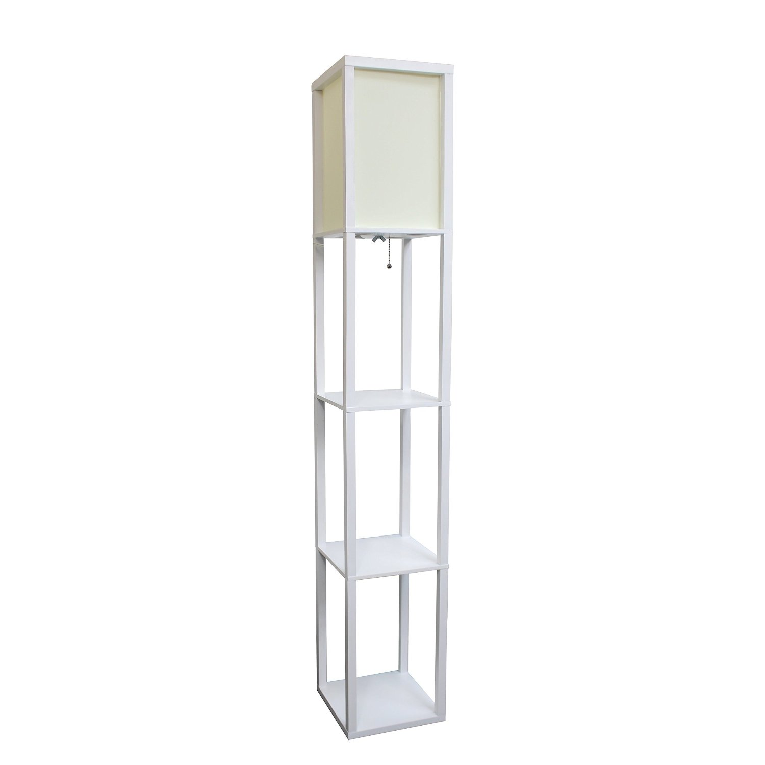 Simple Designs Floor Lamp Etagere Organizer Storage Shelf with Linen Shade