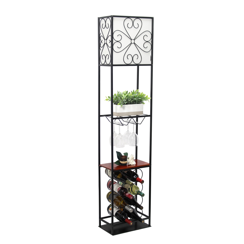 Elegant Designs Etagere Organizer Wood Accented Storage Shelf and Wine Rack with Linen Shade Floor Lamp, Black