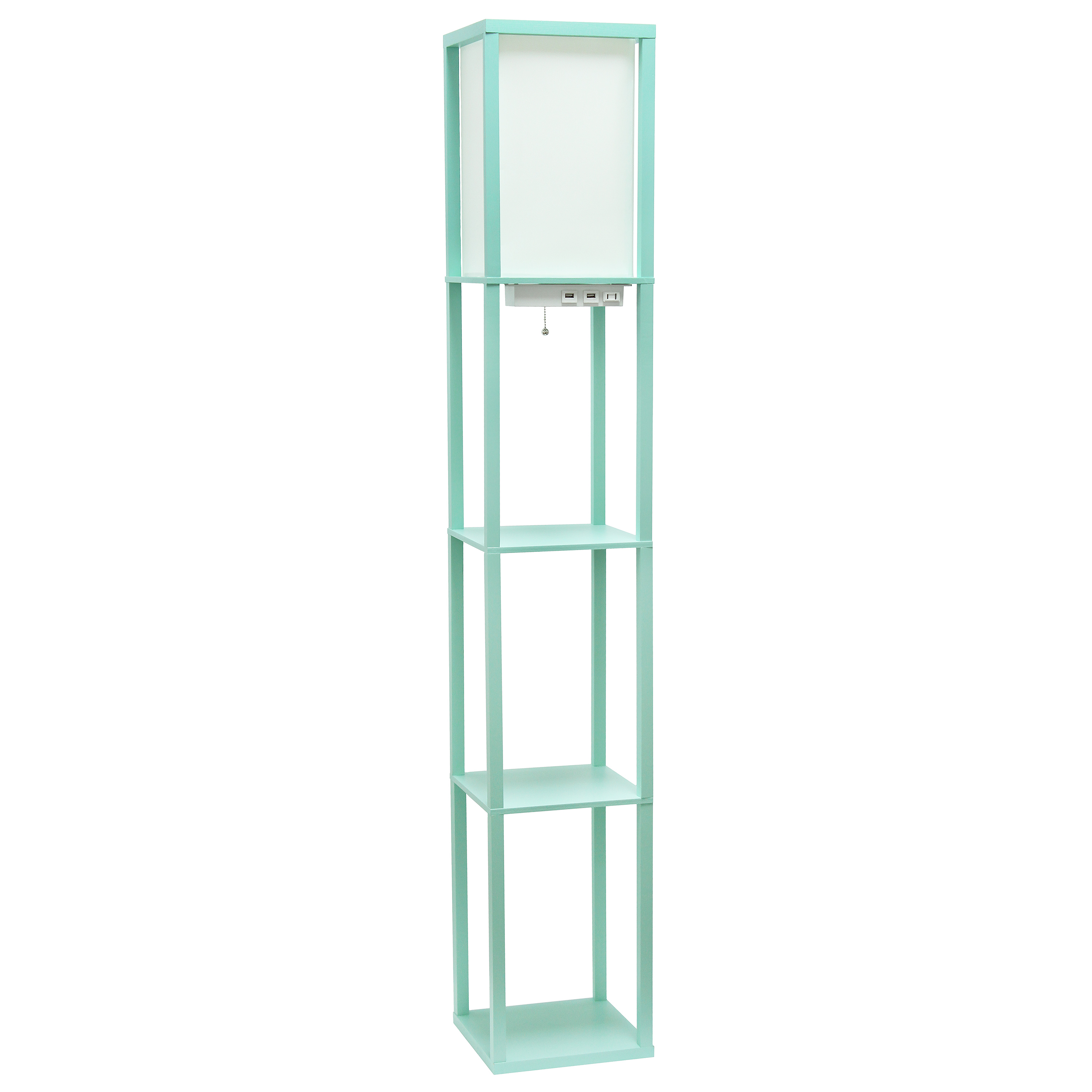 Simple Designs Floor Lamp Etagere Organizer Storage Shelf with 2 USB Charging Ports, 1 Charging Outlet and Linen Shade, Aqua