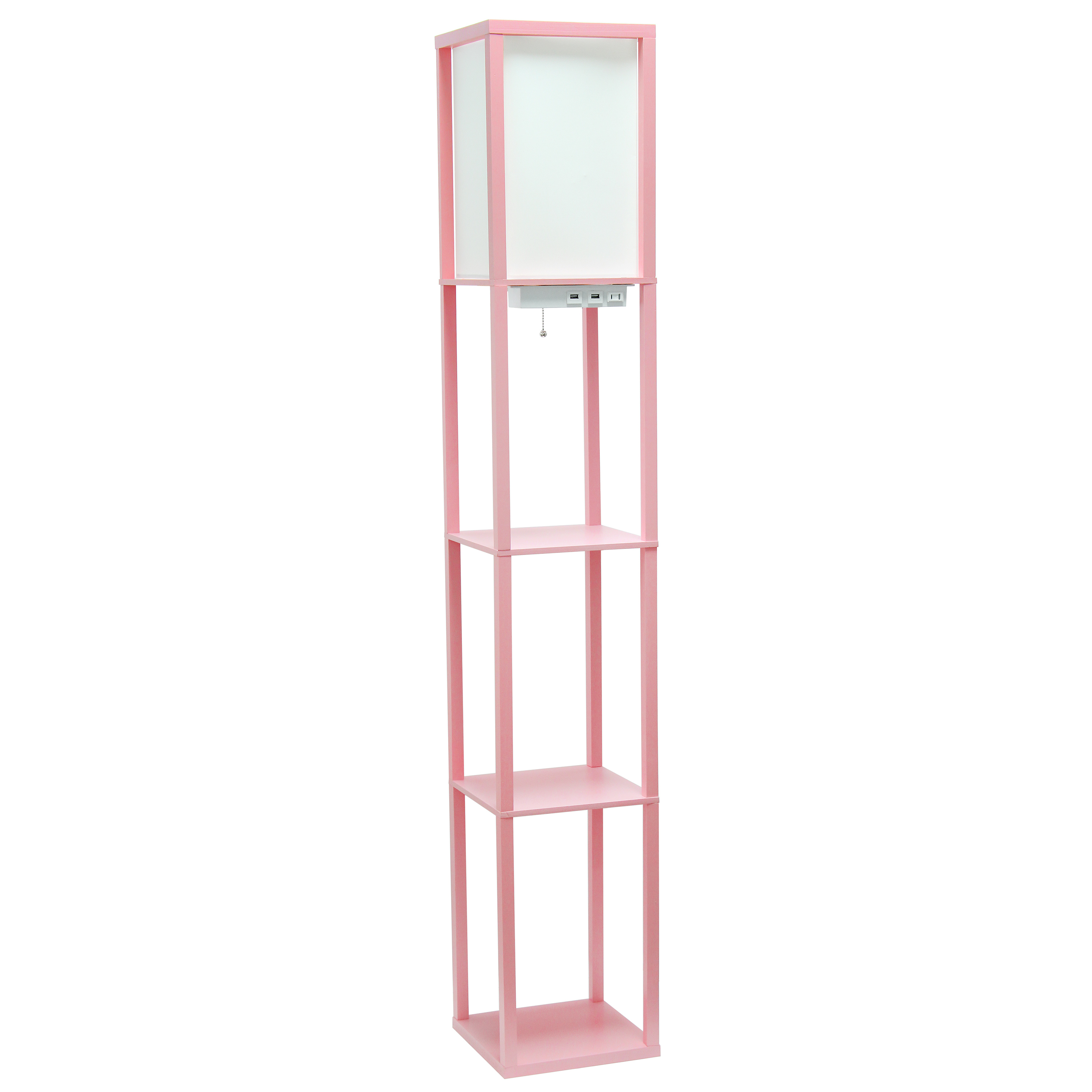 Floor Lamp Etagere Organizer Storage Shelf with 2 USB Charging Ports, 1 Charging Outlet and Linen Shade, Light Pink