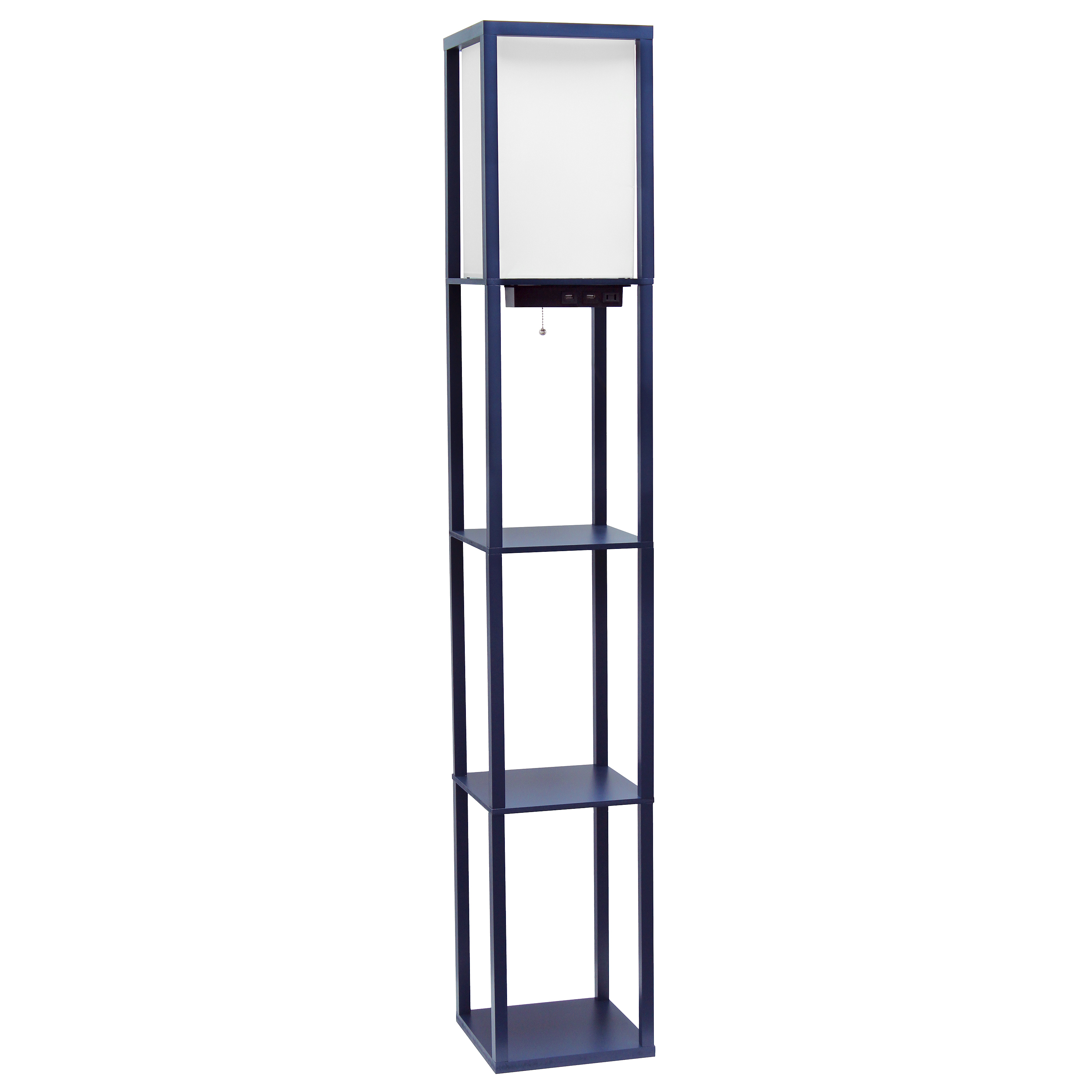 Simple Designs Floor Lamp Etagere Organizer Storage Shelf with 2 USB Charging Ports, 1 Charging Outlet and Linen Shade, Navy