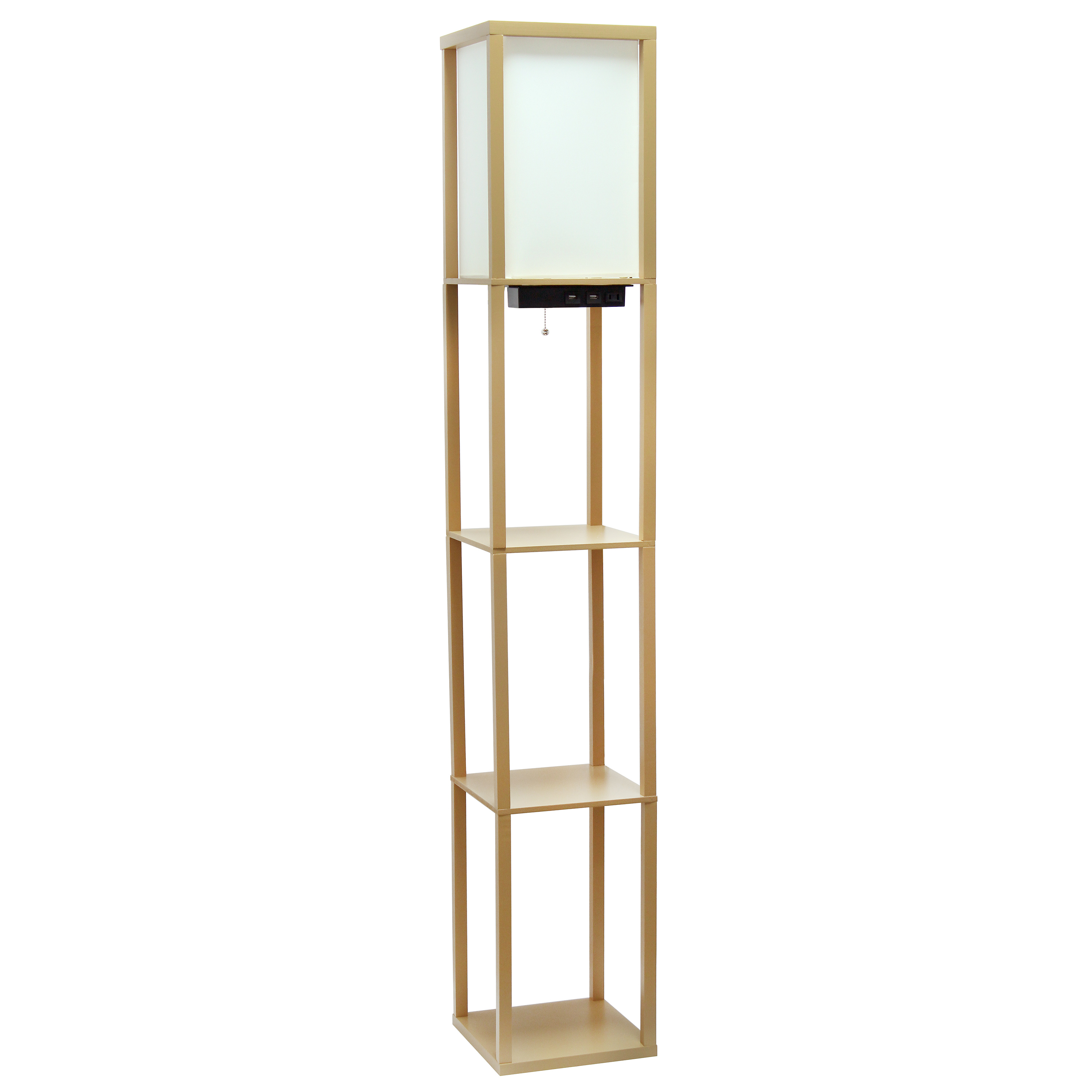 Simple Designs Floor Lamp Etagere Organizer Storage Shelf with 2 USB Charging Ports, 1 Charging Outlet and Linen Shade, Tan