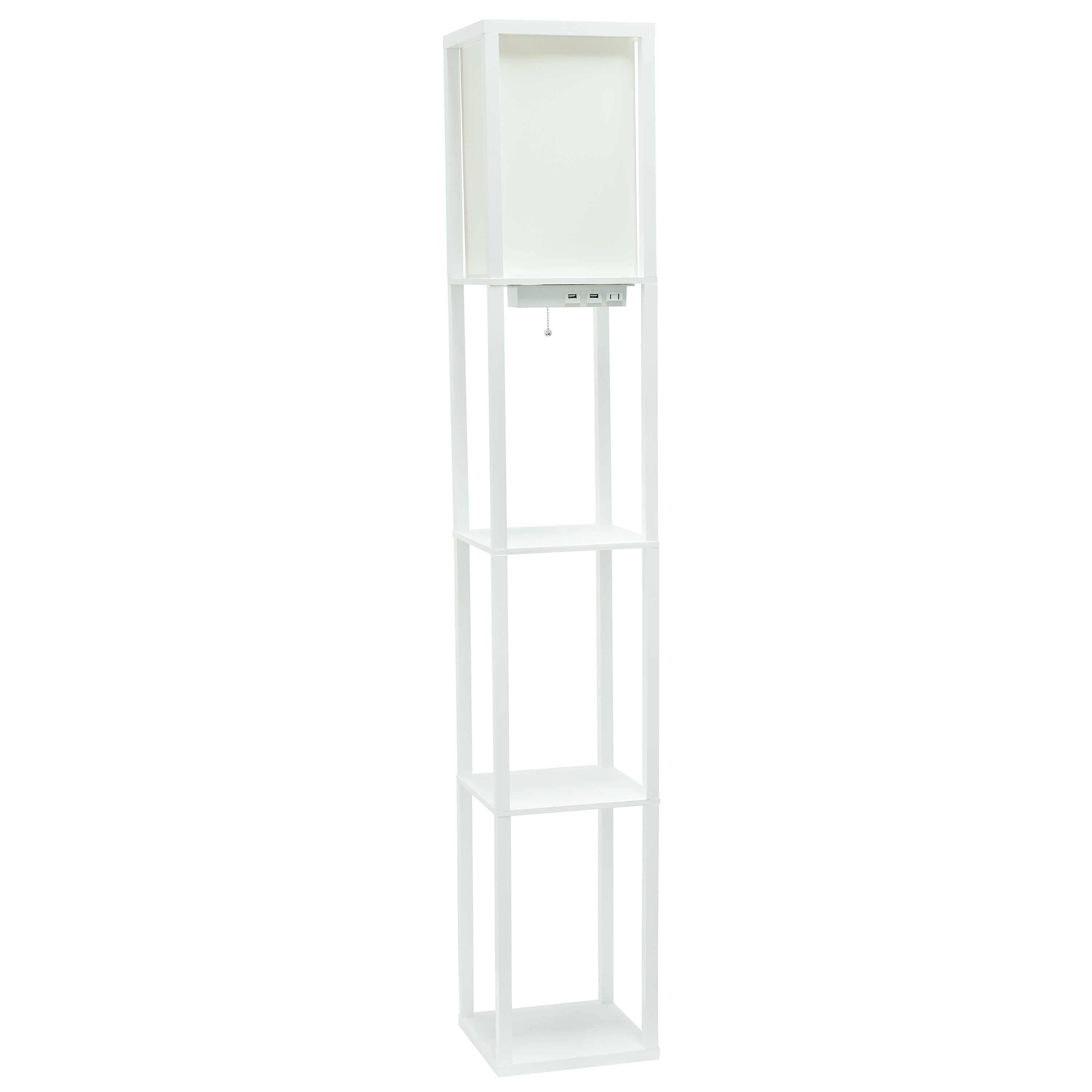 Simple Designs Floor Lamp Etagere Organizer Storage Shelf with 2 USB Charging Ports, 1 Charging Outlet and Linen Shade, White