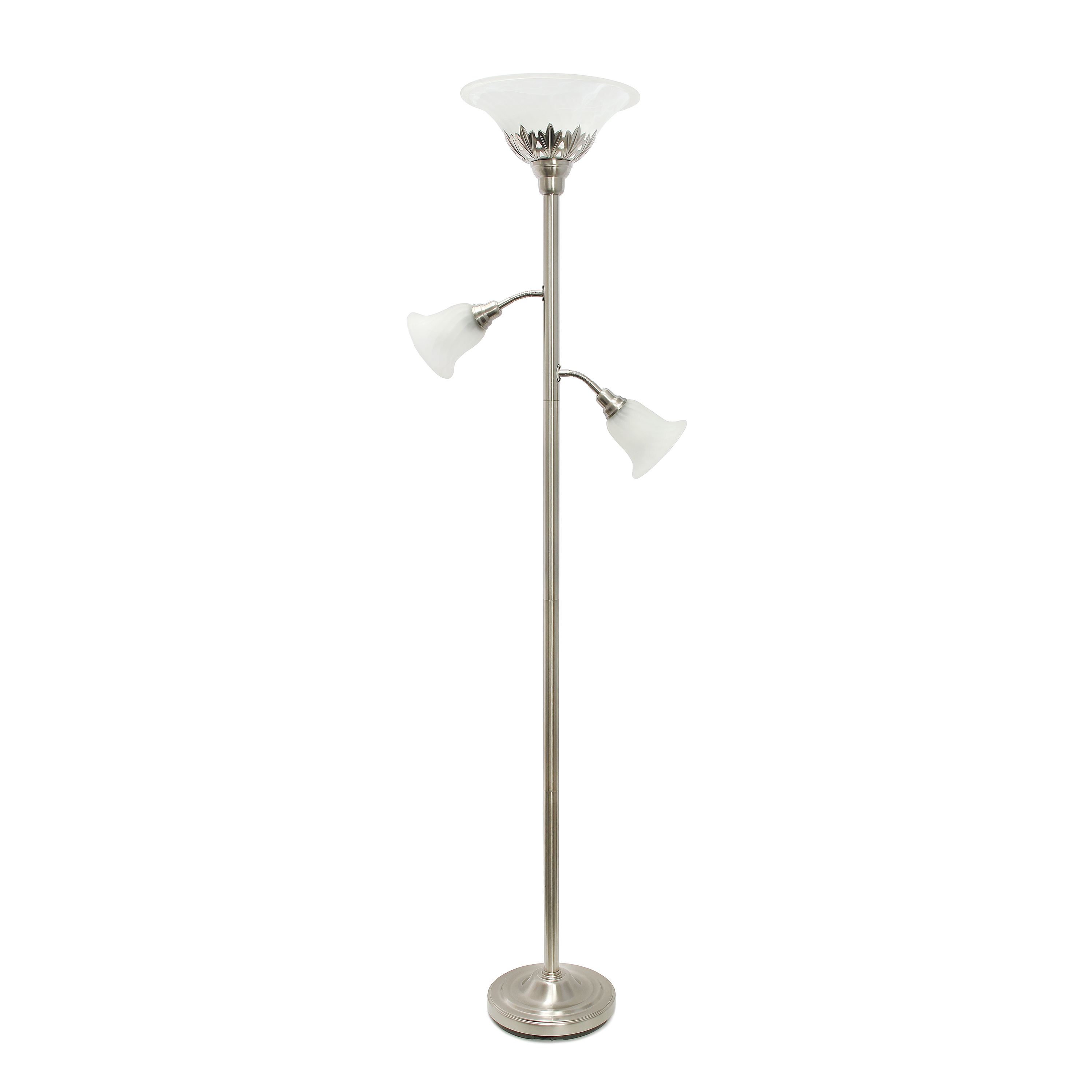 Elegant Designs 3 Light Floor Lamp with Scalloped Glass Shades, Brushed Nickel
