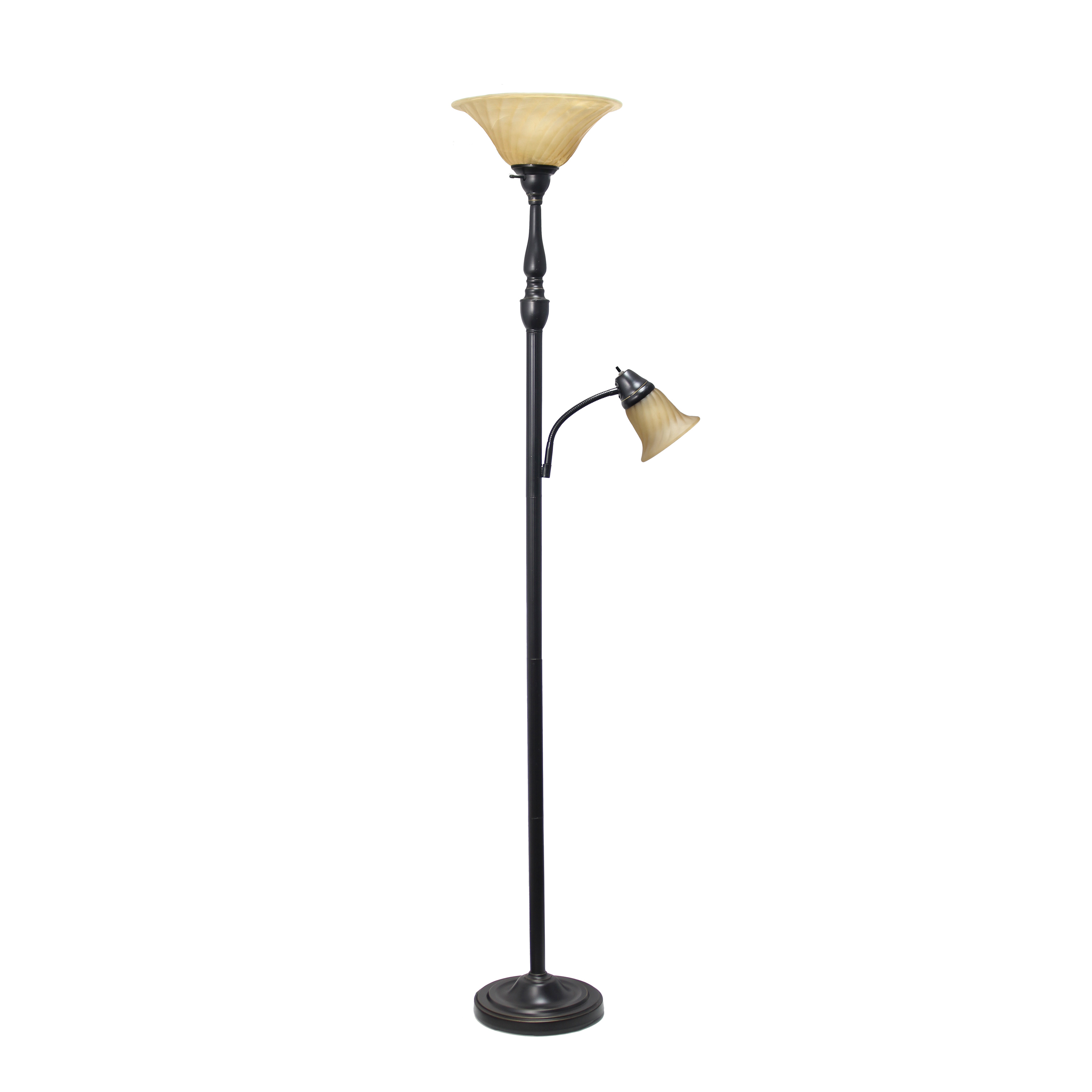 Elegant Designs 2 Light Mother Daughter Floor Lamp with Amber Marble Glass Shades, Restoration Bronze and Amber