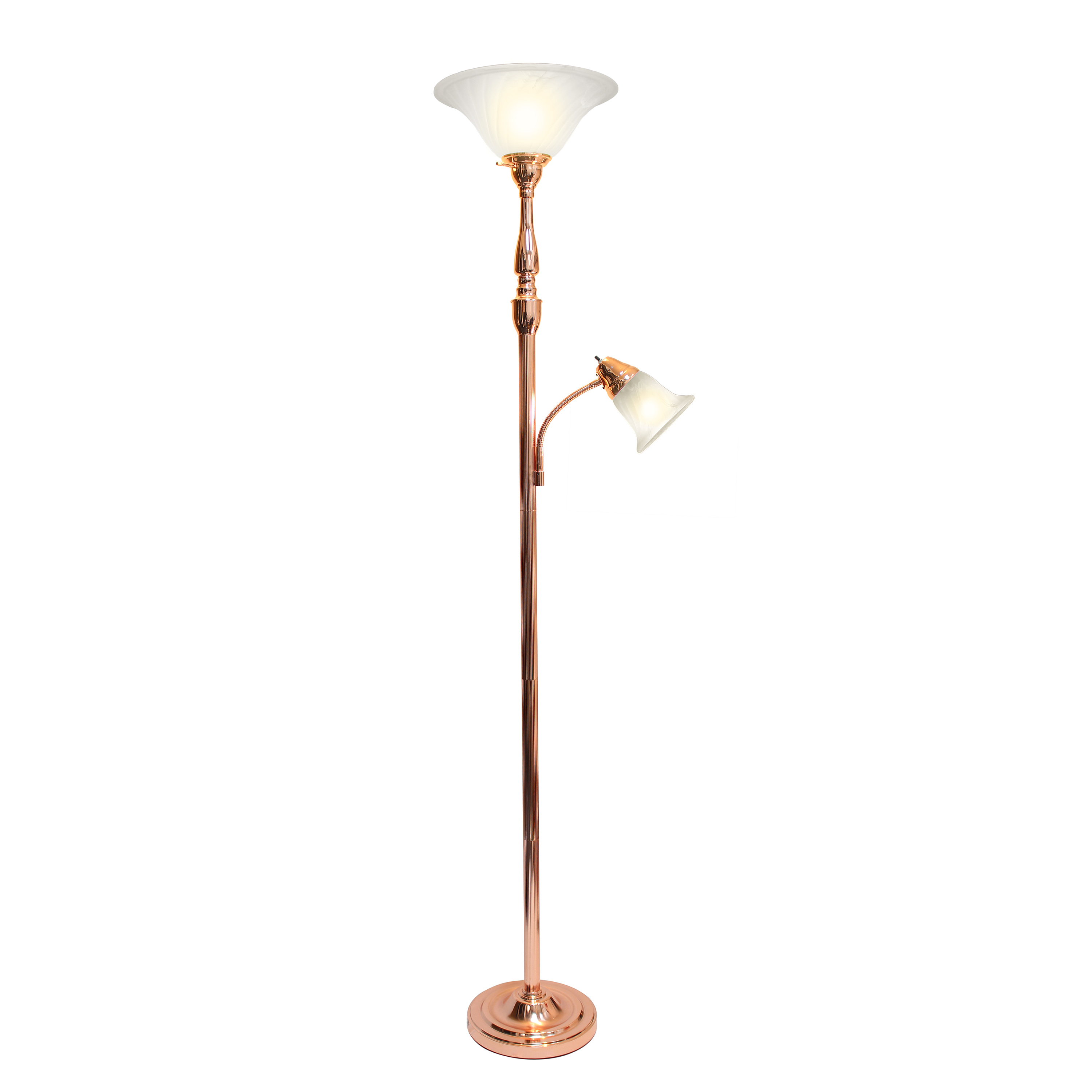 Elegant Designs 2 Light Mother Daughter Floor Lamp with White Marble Glass, Rose Gold