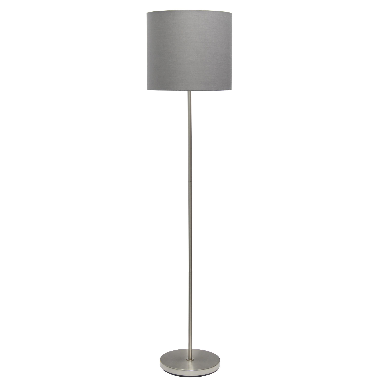 Simple Designs Brushed NIckel Drum Shade Floor Lamp, Gray