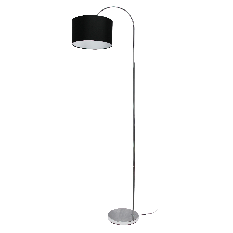Simple Designs Arched Brushed Nickel Floor Lamp, Black Shade